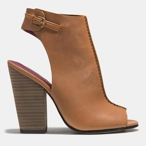 COACH $379 Peep Toe Ankle Booties